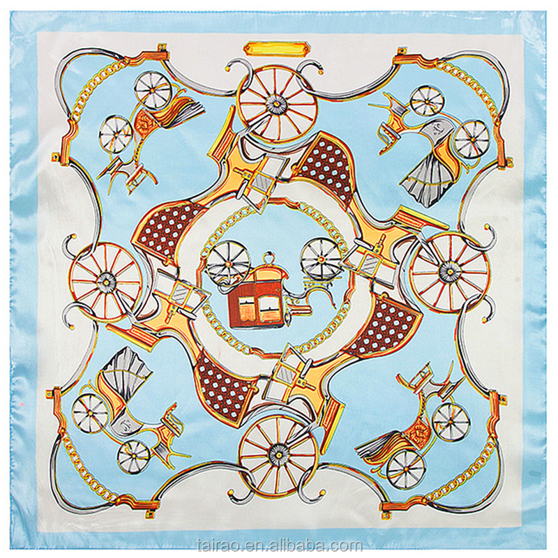 Silk scarves Brand style the classic orange chain carriage picture scarves shawls
