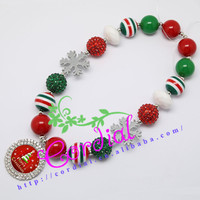 Fashionable Kids Jewelry Handmade Jewelry Bubblegum Beads DIY Interchangeable Character Christmas Tree Pendant Necklace