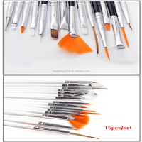 15pcs/set Cheap Essential Polish Tools Acrylic Nail Art Brush Sets With 4 colors