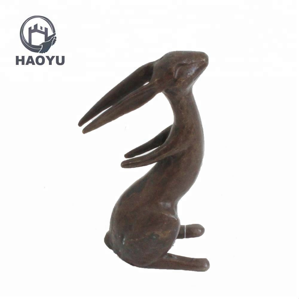 Metal Cast Iron Handicrafts Animal Statues Rabbit Sculpture For Home