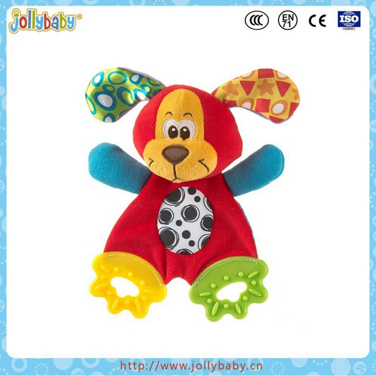 Baby educational plush toy with teether safety quality soft stuffed toy