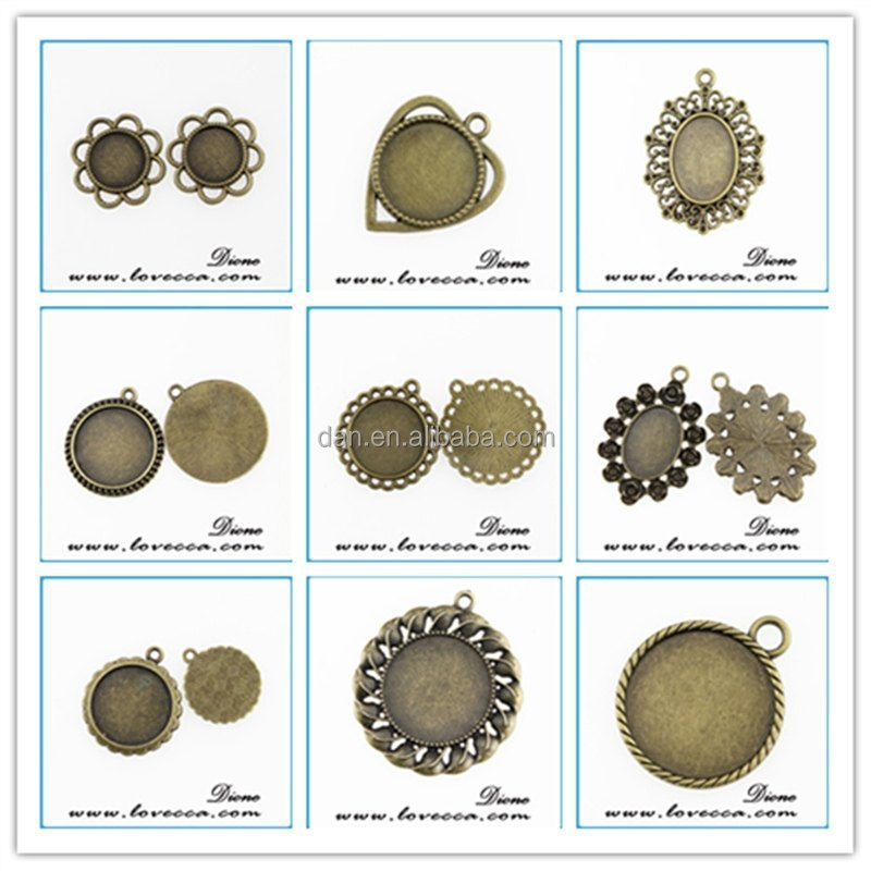 Platinum Round Setting Holds 25mm Cabochon wholesale pendant trays