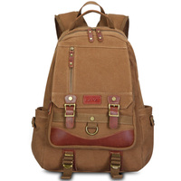 Multi-Function Vintage Canvas Leather Hiking Travel Military Backpack Messenger Tote Bag Portable Carry Case