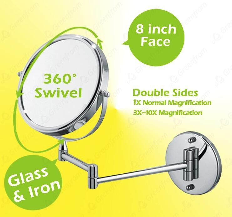 Swivel magnifying wall mount bathroom mirror LED Makeup Mirror