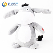 Ear dancing music hippo customized cut stuffed animals donkey plush toy