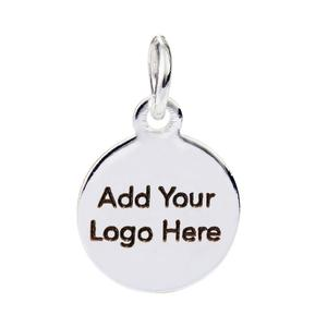 Fashion Jewelry Wholesale 15mm Stainless Steel Silver Plating Laser Engraved Logo Custom Metal Jewelry Tags