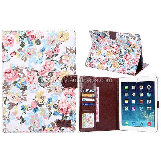 Table case, 2017 new design for ipad tablet leather flower pattern case ,