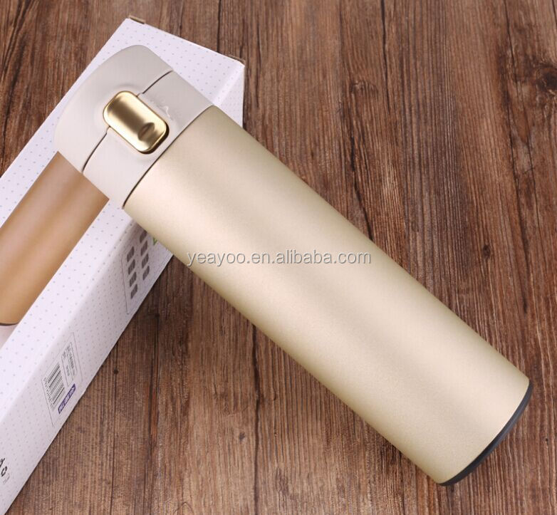 Custom logo 18OZ/500ML sport water bottle 304 stainless steel insulated drinking bottle with plastic lid