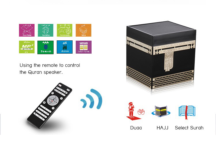 Arabo Inglese Mp3 Audio Digitale Quran Altoparlante 8 gb Hd di Qualità Altoparlante con Telecomando di Controllo