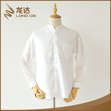 Longda Top quality new model breathable linen fabric casual long white sleeve shirt