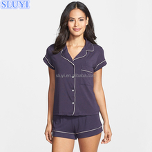 wholesale 100% cotton jersey shorty pajamas sets summer high quality short sleeve v neck pockets dropshipping women sleepwear