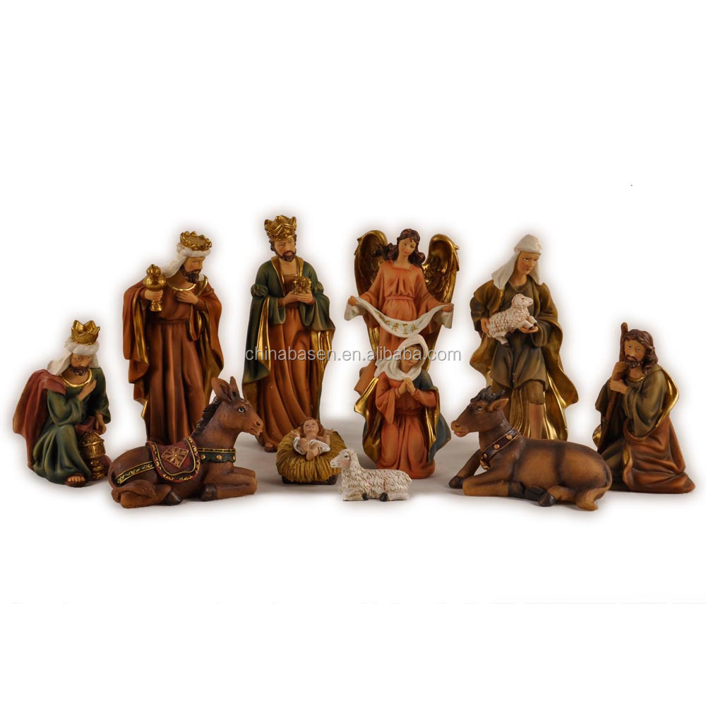 12'' Wholesale resin nativity figurine set religious ornament arts