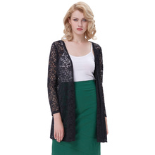 Kate Kasin Sexy Women's Long Sleeve Open Front See-Through Lace Coat Tops Bolero KK000421-1