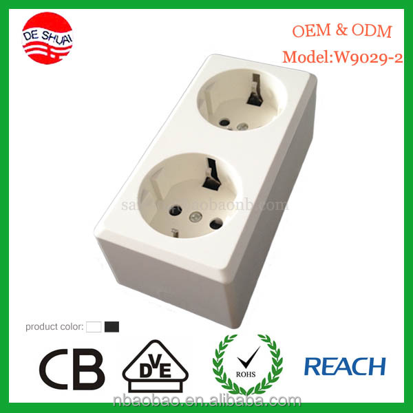 Surface Mounted VDE Germany Socket 2 Gang Outlet