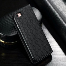 for iphone 6 6s plus real leather flip case with wallet credit card holder ,for iphone 6 + Genuine leather case Diamond pattern