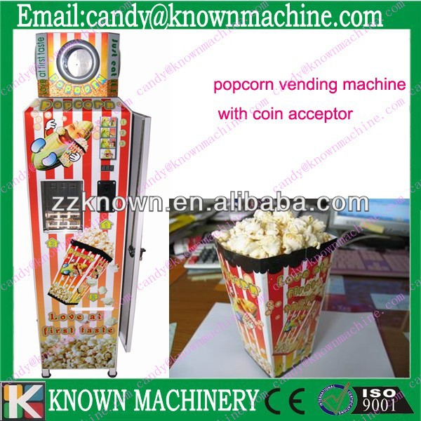 Small size and coin-operated automatic pop corn vending machine/popcorn maker for sale