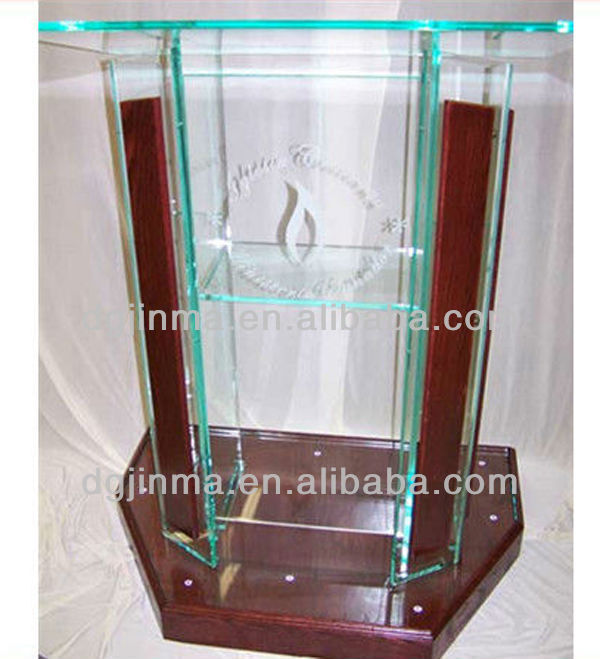 Hot sale customized Logo design plexiglass pulpit for church;modern glass acrylic pulpit