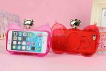 lady style transparent hello kitty phone case for Samsung
