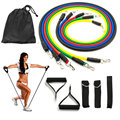 11pcs resistance band set, 5 levles resistance tube with nylon carry bag