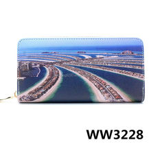 Travel Gift Seaside Print Zip Flat Custom Hard Clutches Wallet For Woman