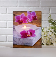 orchid flowers with candles design painting Flickering led wall canvas art prints picture for decoration art work frameless