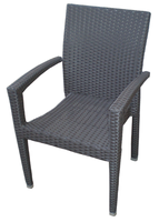 Fashionable PE rattan outdoor dining chair with arm used restaurant rattan stackable chairs