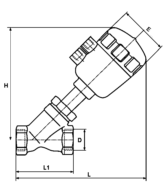steam dn80 pneumatic angle seat valve ss304 ss316 with