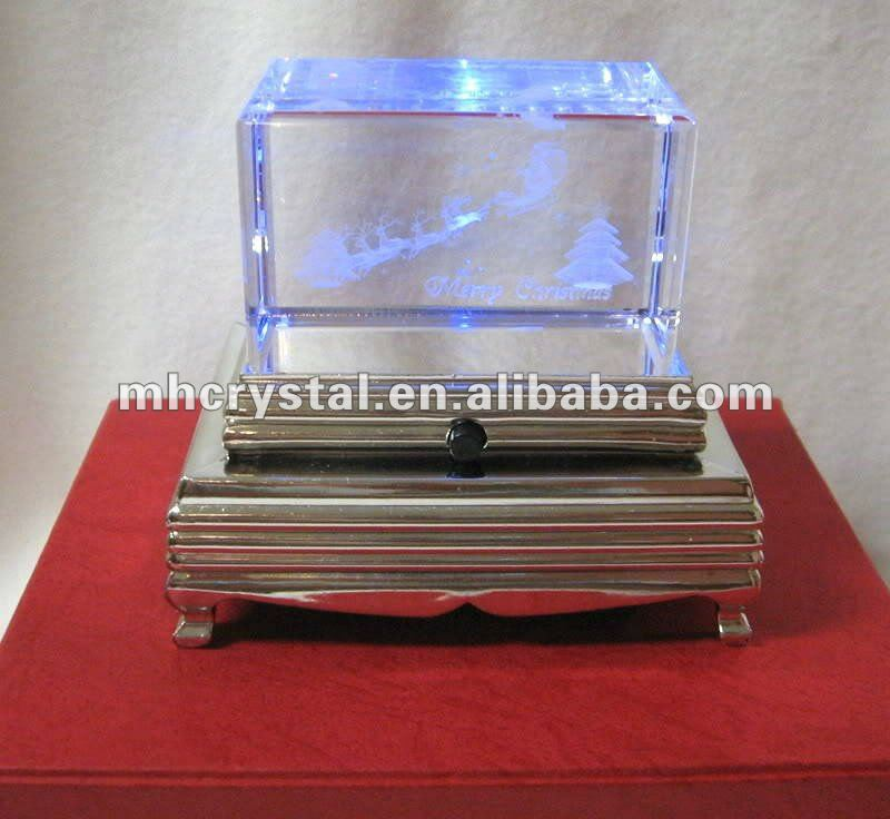 Holiday Light Up Crystal Paperweight Figurine With Pedestal MH-F0256