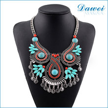 bohemian beads bubble bib resin necklace with turquoise tassel jewelry