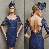 Noble Ladies Dresses Half Sleeve Sheer Neck And Back Sheath Tight Short Lace Navy Blue Evening Dresses For Veiled
