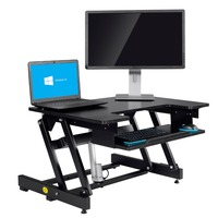 Lifting assist mechanism Black finish height adjustable sit stand desk with retractable