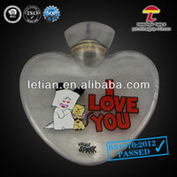 BS1970-2012 1000ml grey pvc hot water bottle heart shaped