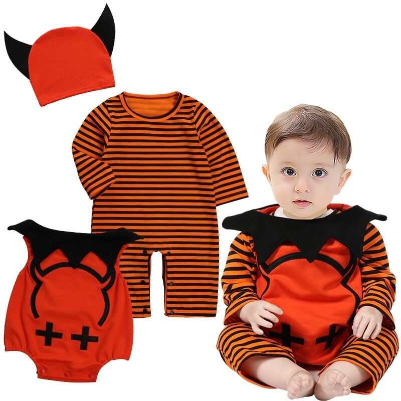 Wholesale baby Halloween festival costume pumpkin clothes 3sets with hat children's