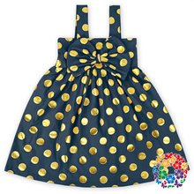 2016 Baby Navy Color Polka Dot Dress Cotton Summer Dress Designs Teenage Girls Kids Clothes Girl Dress With Bow