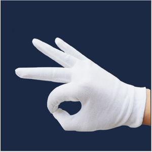 High-quality white thicken cotton work gloves etiquette work gloves