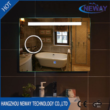 High quality magnifying illuminated touch screen LED bathroom mirror
