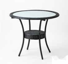2016 Outdoor Garden wicker round modern design glass top round tables