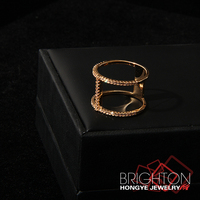 Dual Rings Linked Fashion 24K Gold Ring 1-1841-5040