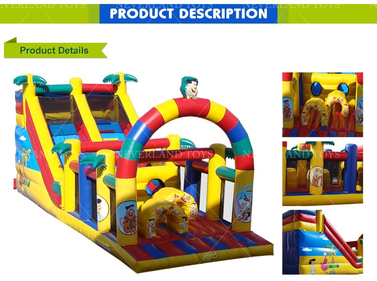 NEVERLAND TOYS Inflatable Flintstones Obstacle Lovely and Popular for Kids Hot Sale