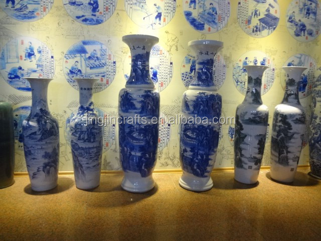 antique Chinese porcelain blue and white vase,China blue and white vase,tall and large jingdezhen blue and white porcelain vase