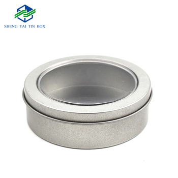 Luxury round tin gift packaging box with clear window removable lids