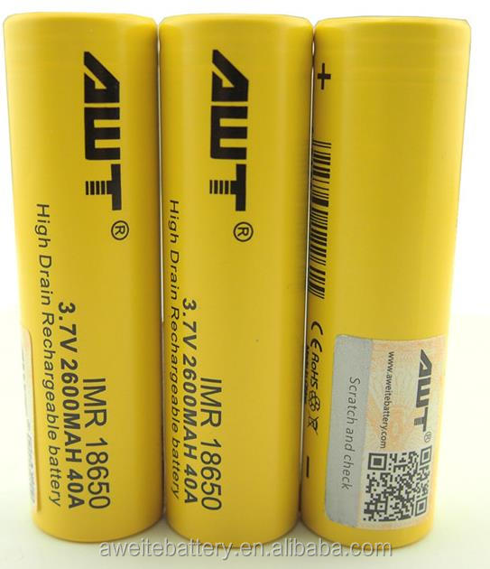 Newest!!!Authentic AWT 18650 2600mah 40amp battery ecig battery for 12.8 volt lifepo4 battery pack dewalt 20v cordless drill