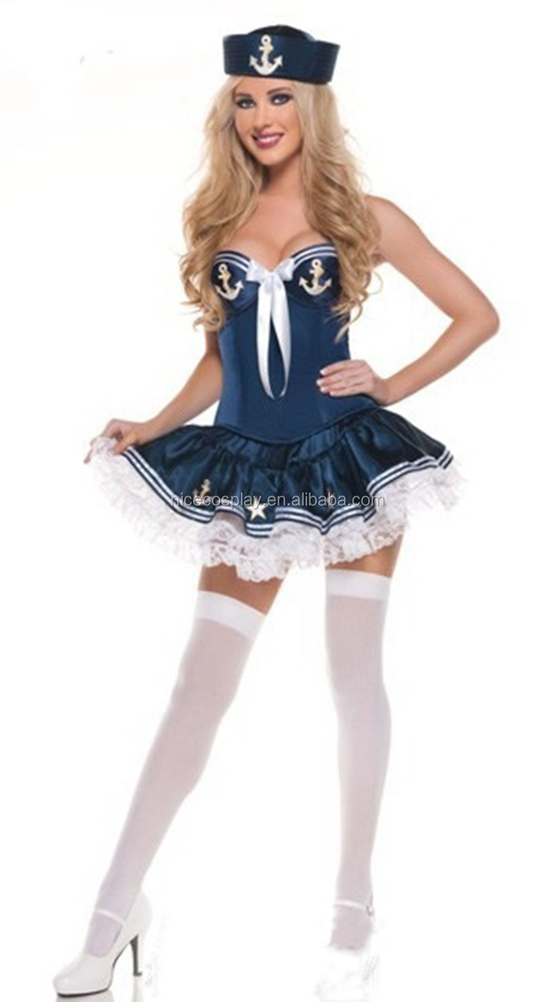 Sexy Navy Sailor Girls Tee Dress Halloween Cosplay Night Club Priness Costumes Two Styles