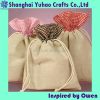 Gingham top Cotton Bags Gingham drawstring pouches