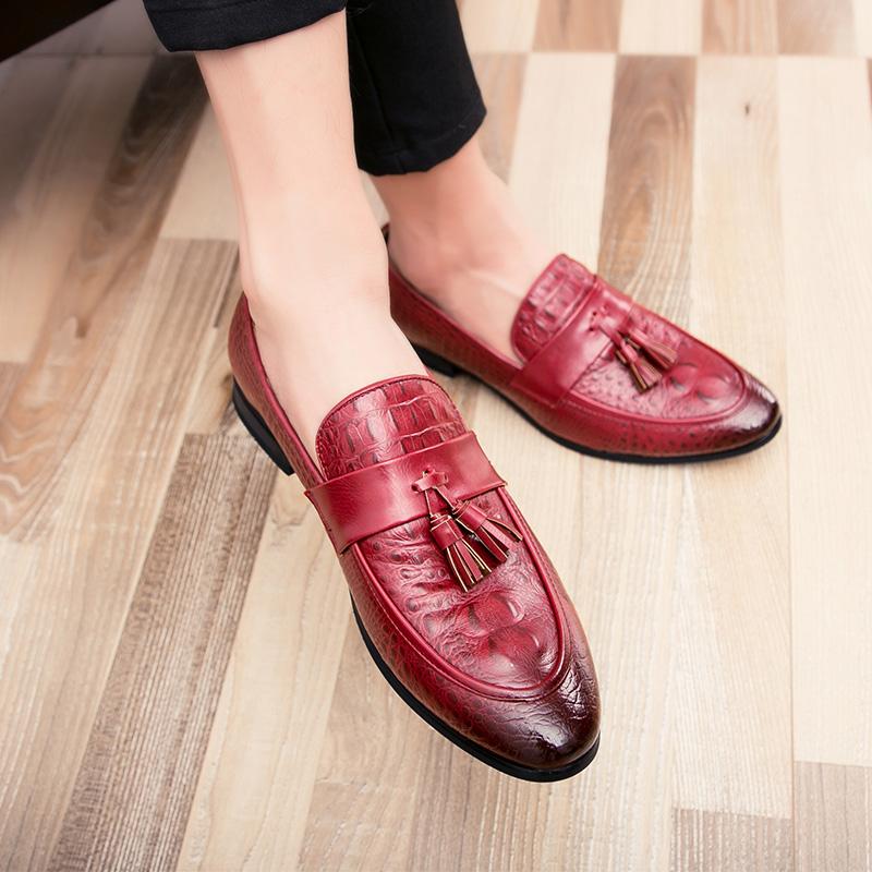 men winter italian fashion snake skin brogue leather oxford tassel slip on pointed toe shoes designer male formal cool footwear  (30)