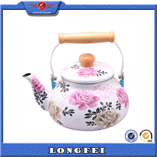Full decal wooden handle enamel tea pot