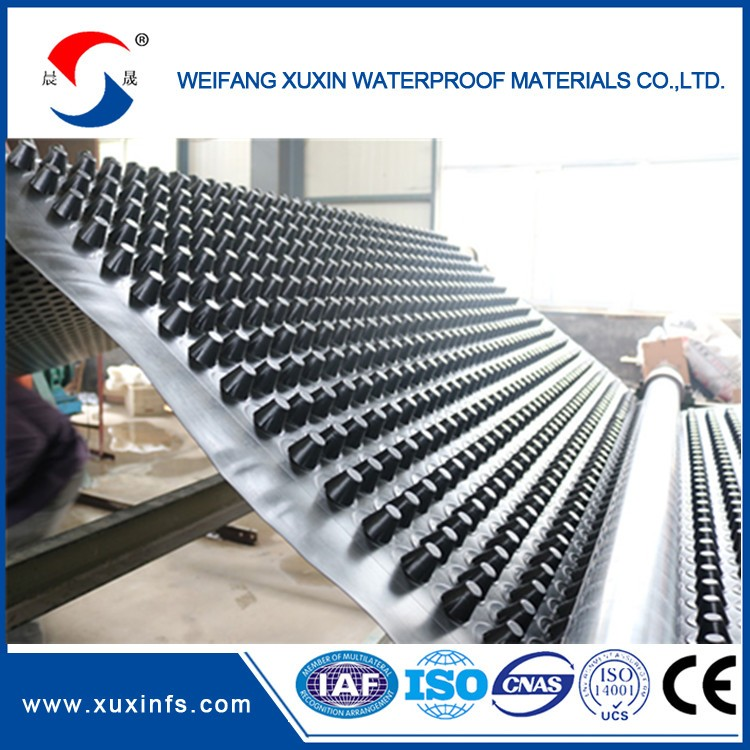 HDPE plastic drainage board, dimpled plastic drain sheet