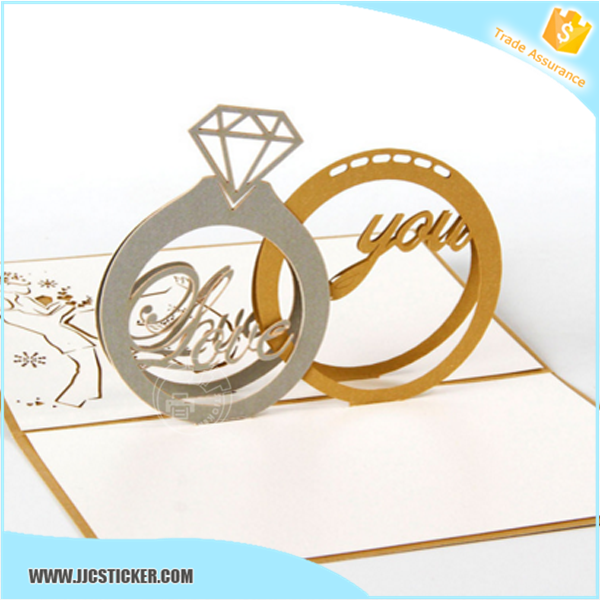 Get 100USD coupon 3d pop up diamond ring wedding invitation cards,exquisite wedding invitation card,invitation cards
