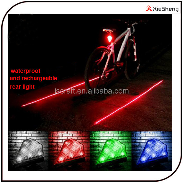 3 modes waterproof safety USB rechargeable flashing rear light warning bicycle colorful 8 LED+2 laser Bike tail lamp