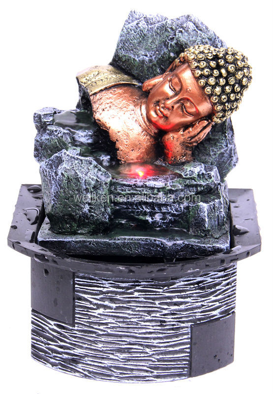 polyresin tabletop buddha water fountains,resin indoor water fountain,polystone mini fountain